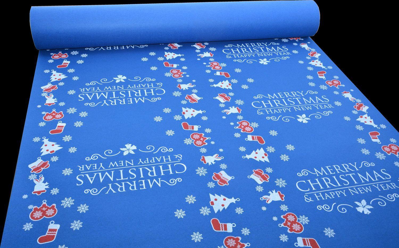 Moquette MERRY CHRISTMAS bleu